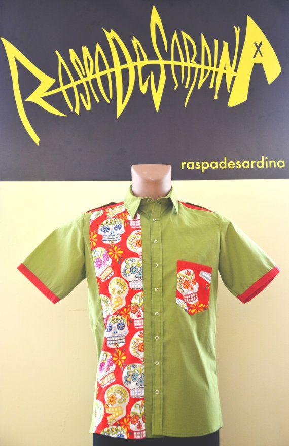 Shirt man Sugar Skulls red and green by raspadesardinashop on Etsy