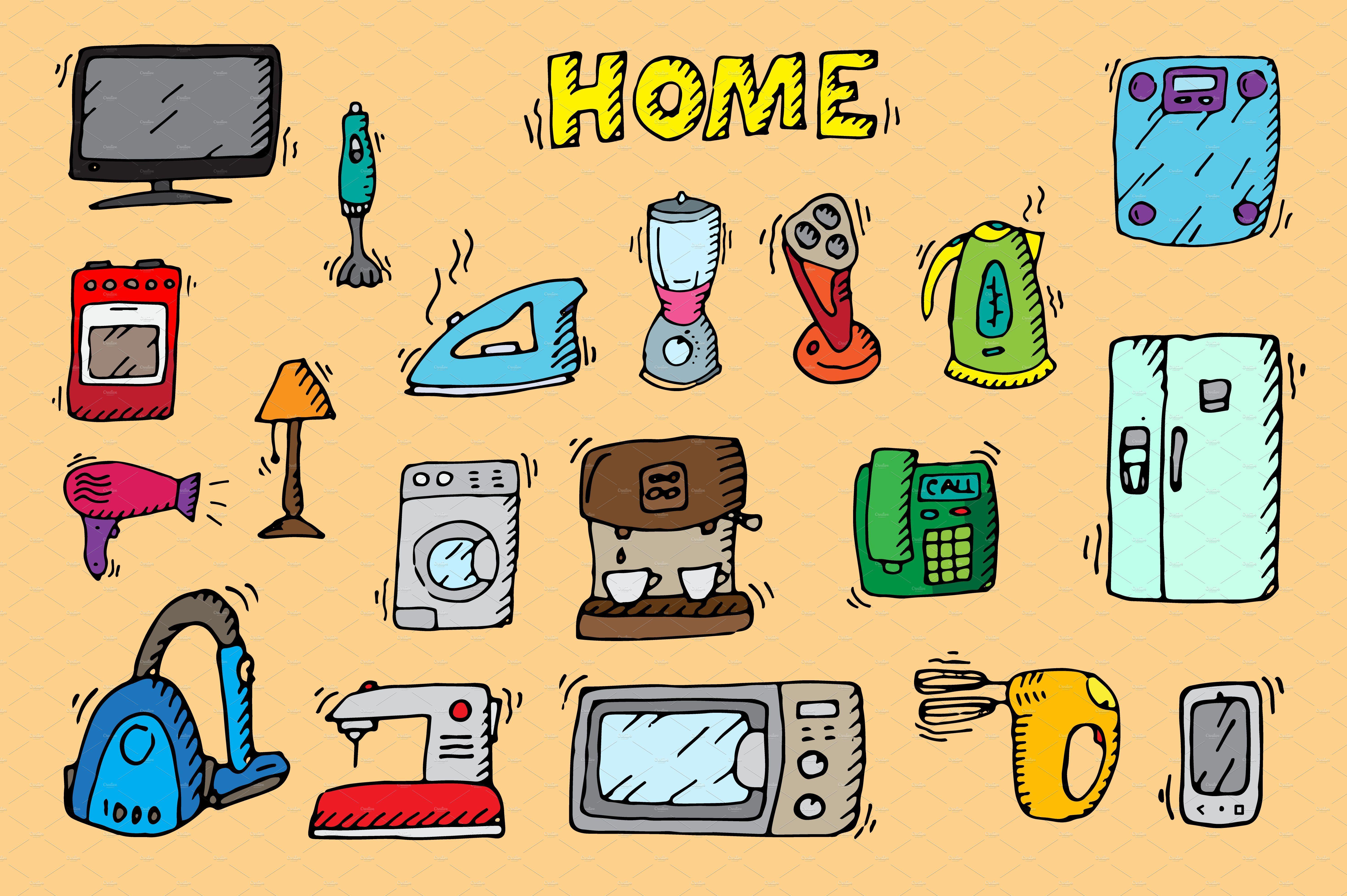 Home Appliances Doodle Vector By Alex Hliv On Creativemarket