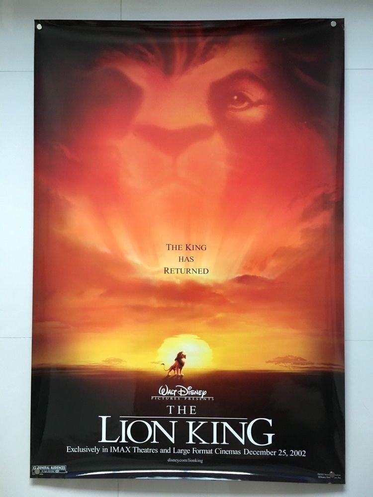 1994 Disney The Lion King Double Sided Original Movie Poster Movie Memorabilia Entertainment Memorabilia Posters