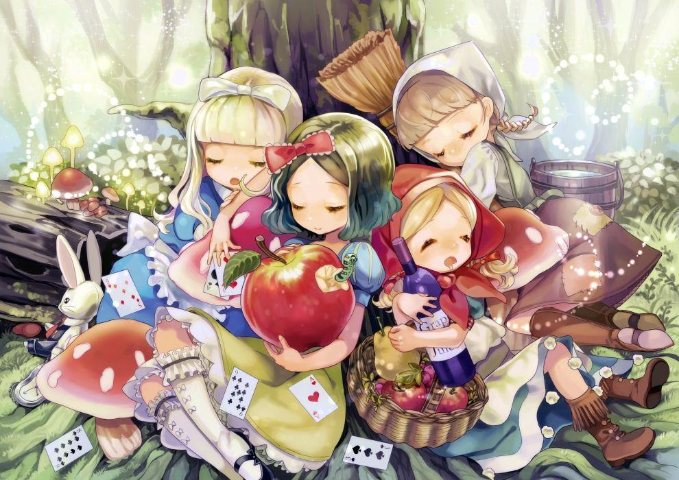 Red Riding Hood, Cinderella, Snow White and the Seven Dwarfs, Alice in Wonderland
