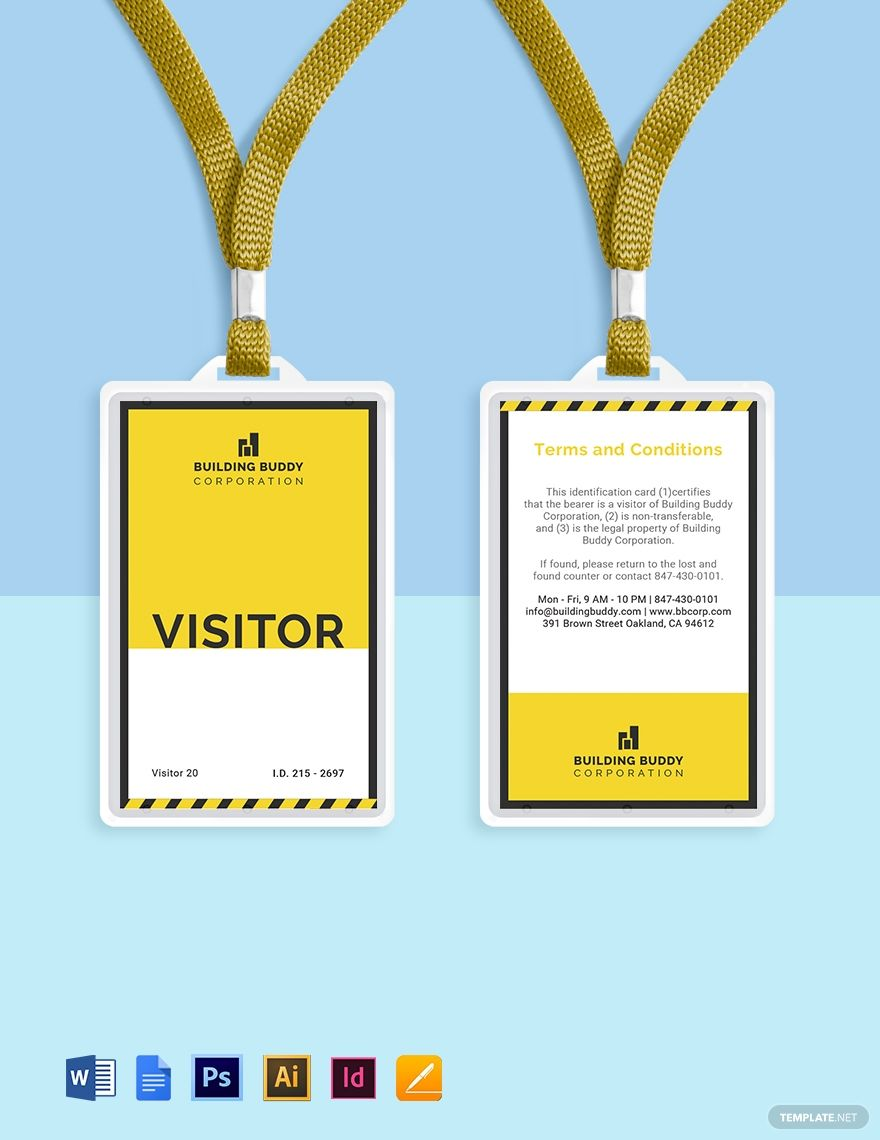 Construction Visitor Id Card Template Ad Paid Visitor Construction Id Template Card