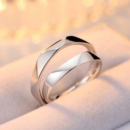 Original Multi-Section Cut Design 925 Silver Open Design Couple Rings