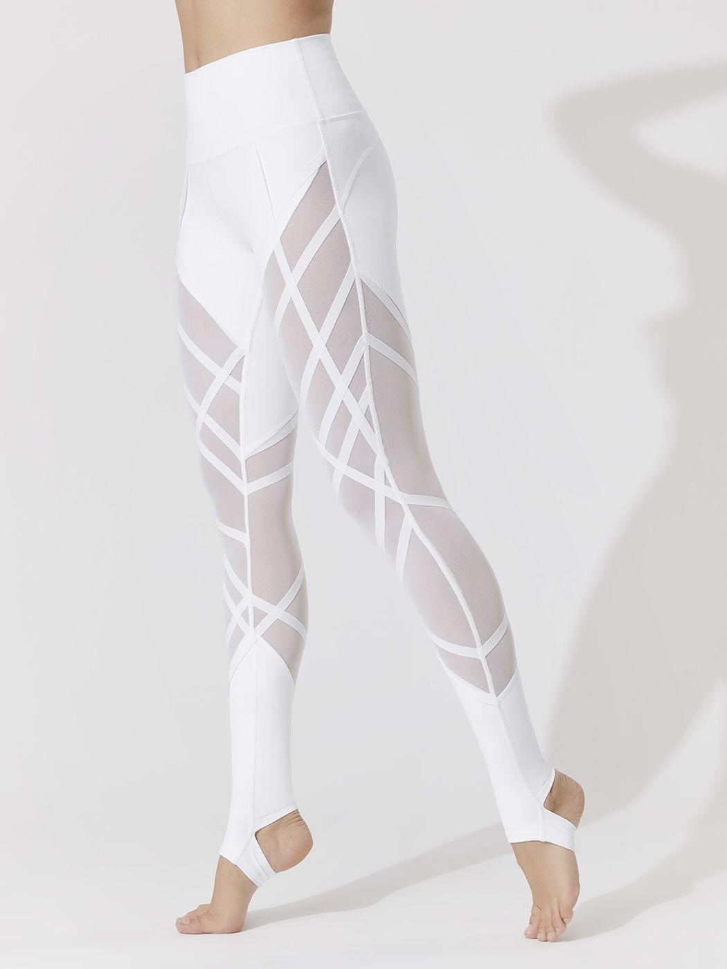 8643fe29b0c204 High-waist Wrapped Stirrup Leggings in White by Alo Yoga from Carbon38