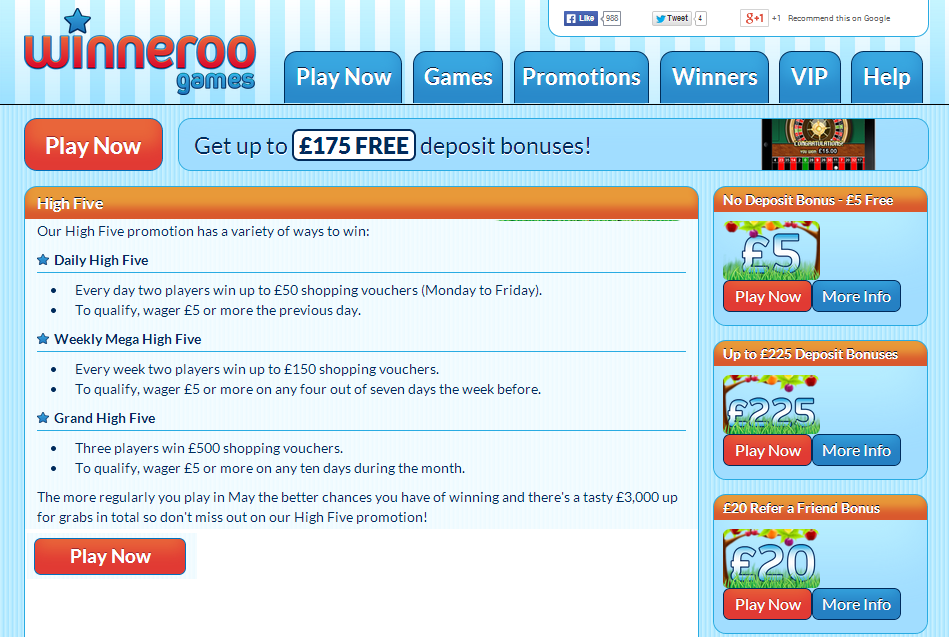 *** SPRING OFFER ***  We're in such great spring spirits here at Winneroo Games we're High Fiving fifty winners that share a whopping £3,000 this May.  That's right, we're giving away £3,000 shopping vouchers you can spend at loads of retailers and the best thing is that - if offering a generous three grand wasn't enough - you can win more than once!  Play Now: http://goo.gl/z2KKM6