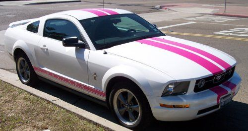 White Stang w/pink stripes | Dream car/truck | Pinterest | Racing ...