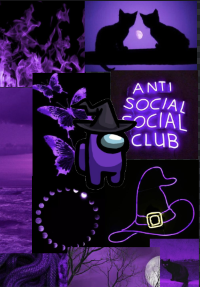 Among Us Purple Witch Hat Anime Wallpaper Butterfly Wallpaper Iphone Purple Aesthetic