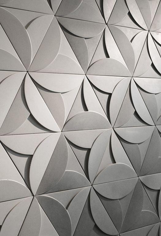 Concrete Tiles Triangle Tiles Three Dimensional Space Triangle Tiles Wall Paneling Wall Tiles