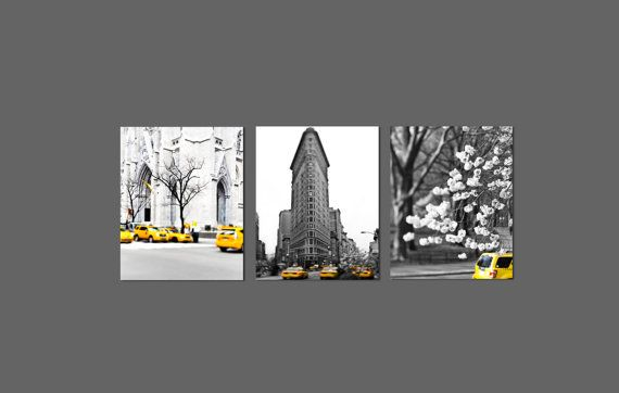 Black White New York Photography 3 8x10 Prints Of Nyc Yellow Taxi Cab Set Save 30