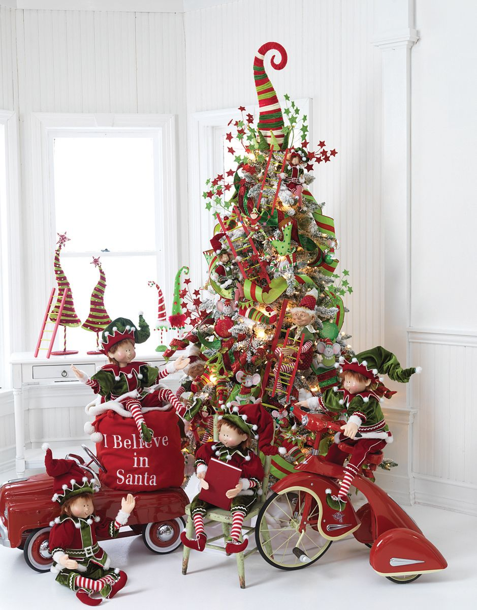 Christmas Tree Toys And Elves Whimsical Christmas Trees Elf Christmas Tree Christmas Tree Inspiration