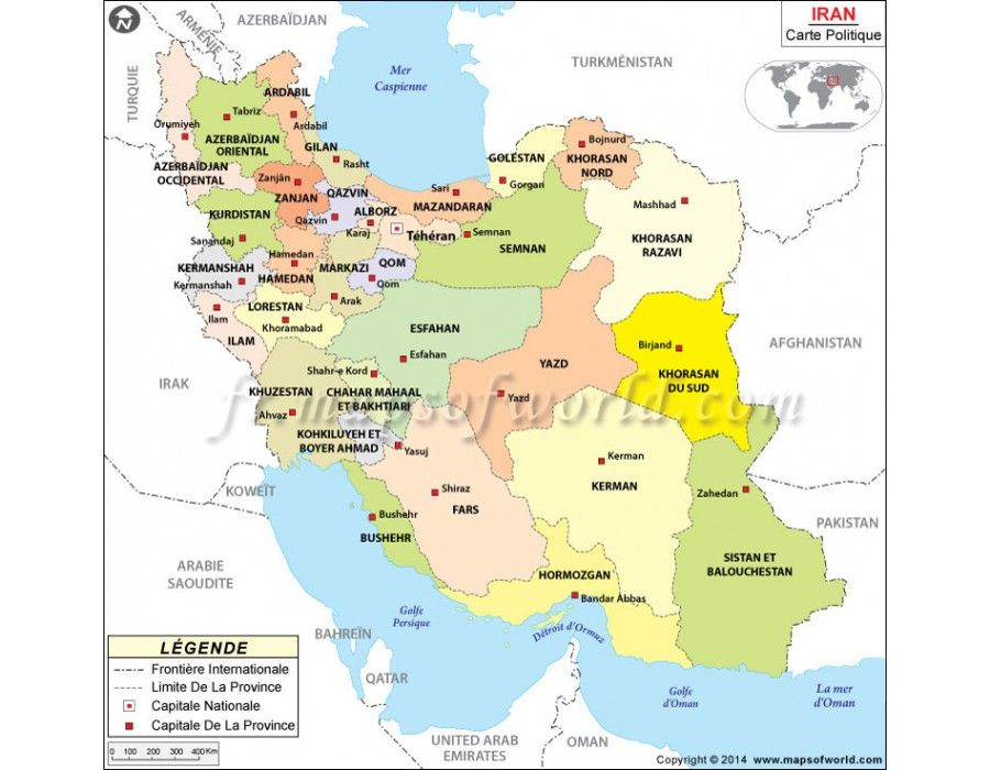 Iran Map in French in Digital and Editable Format Country Maps