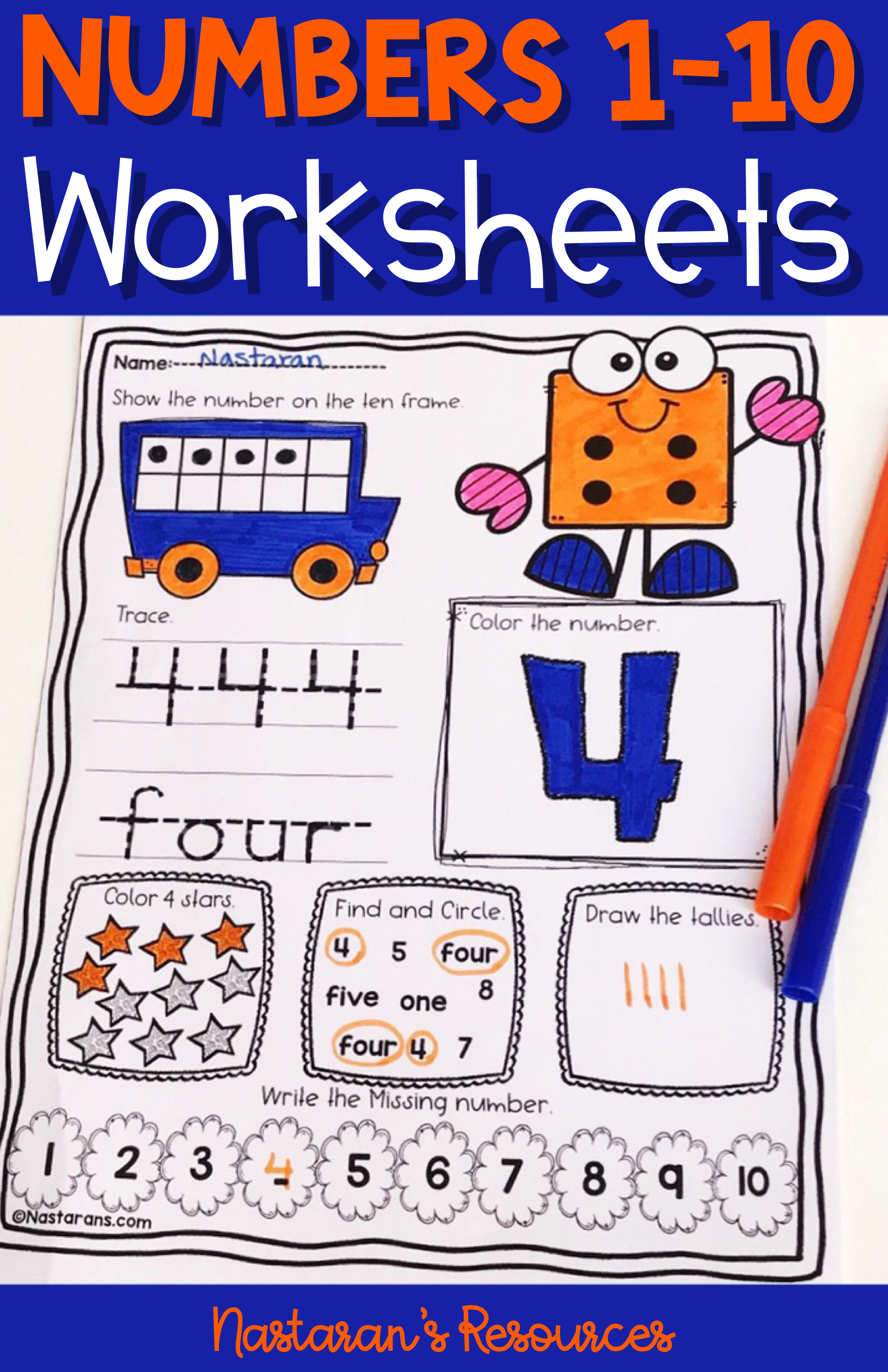 Number 1 10 Worksheets For Kindergarten Kidsacing And