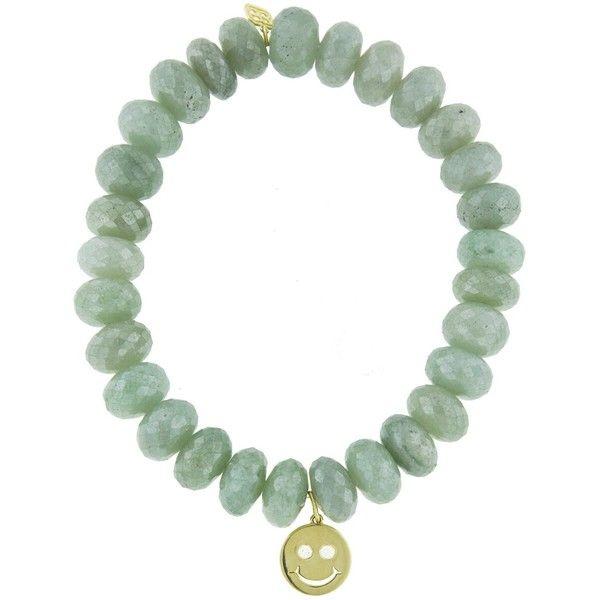 Sydney Evan Green Silverite Beaded Bracelet with Diamond Smiley Charm 71IwjcCIG