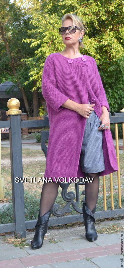 1825953748b Купить или заказать Вязаное пальто  Фуксия  авторское классическое в  интернет-магазине на Ярмарке