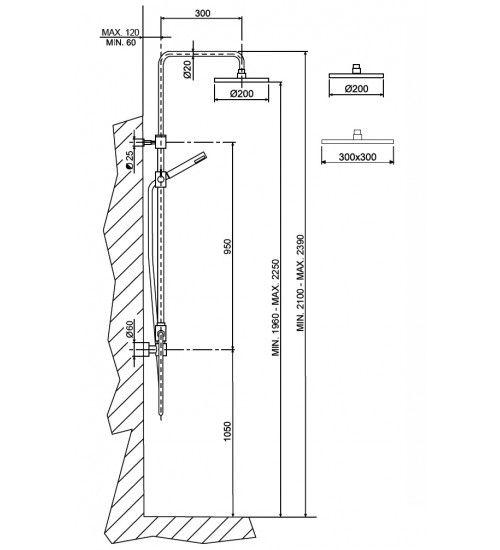 Risultati immagini per altezza installazione soffione - Altezza soffione doccia ...