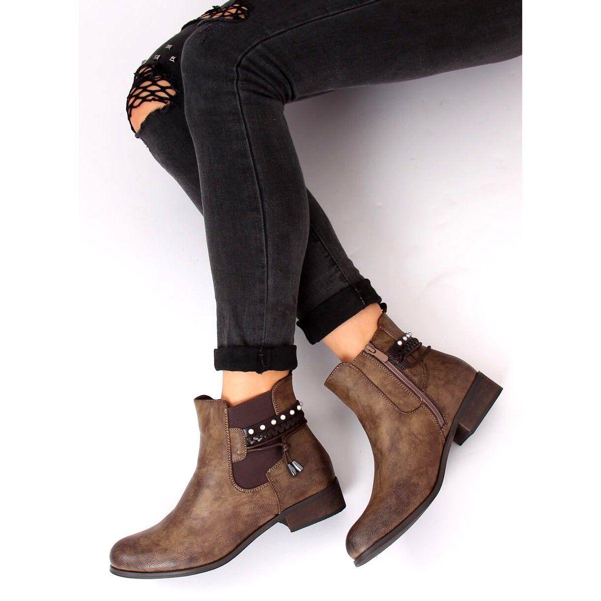 Sztyblety Damskie Brazowe 846 Khaki Jodhpur Boots Boots Boot Shoes Women