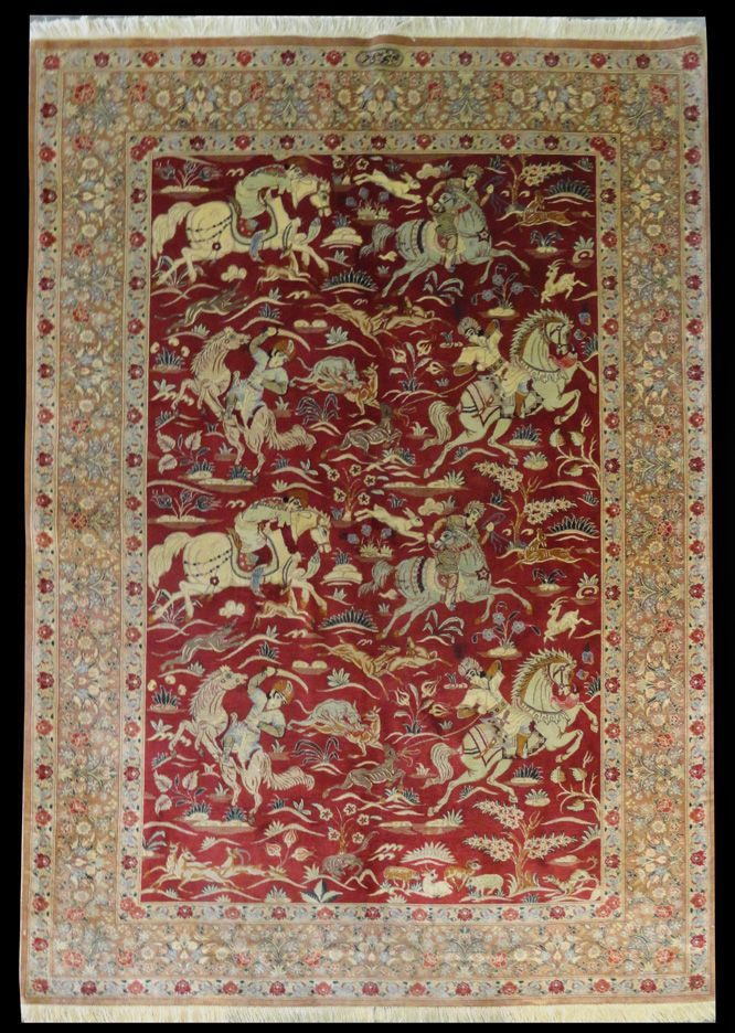 Woodlands Oriental Rug Gallery Persian Qum Signed Shojahinfar 100 Silk 6 7 X 4 Hunting Scene