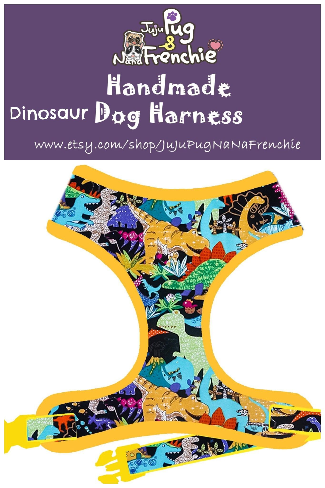 Jungle Dinosaur Dog Harness Custom Boy Dog Harness Vest