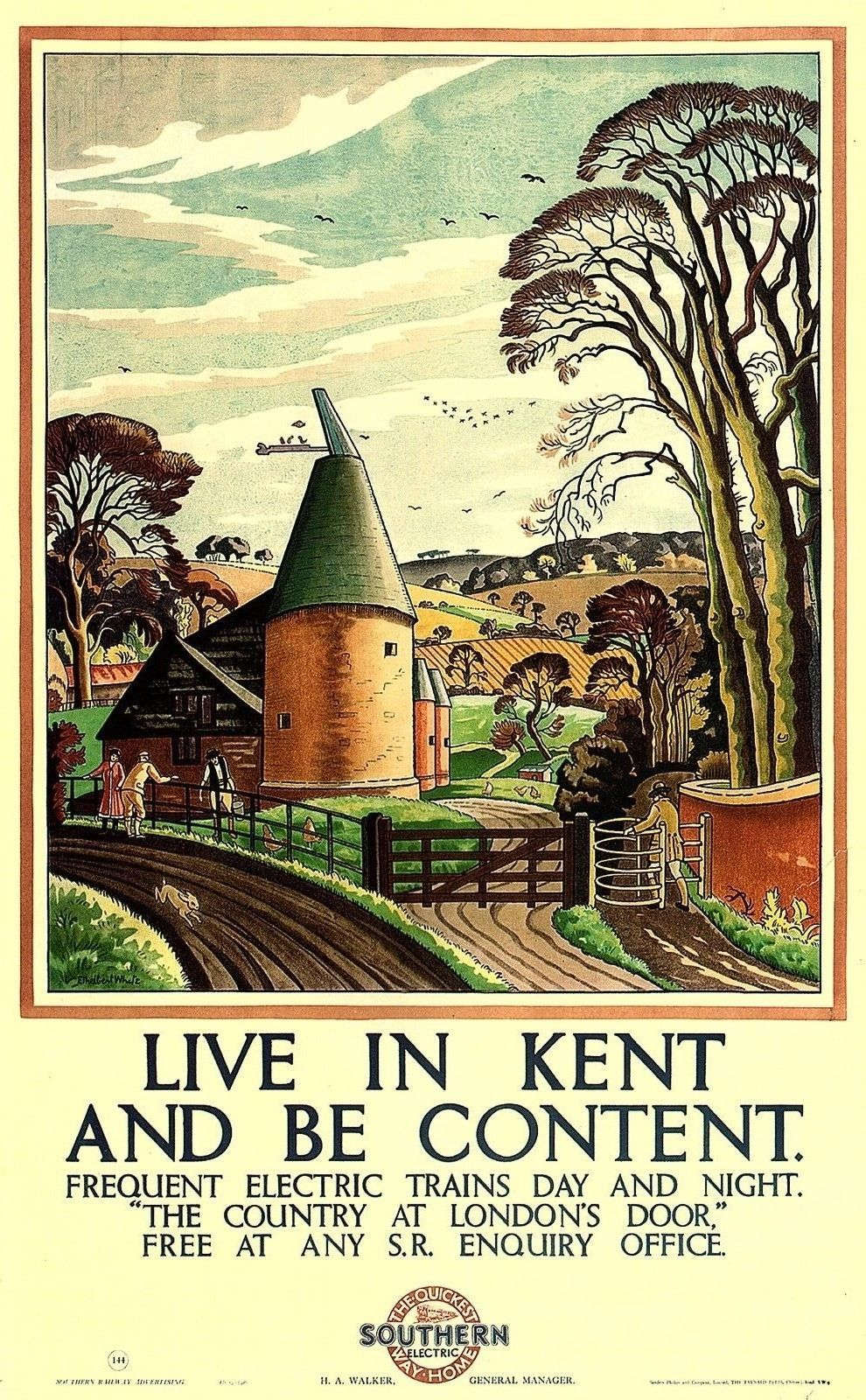 Vintage metal sign Live in Kent and be Content  Railway Retro Advertising