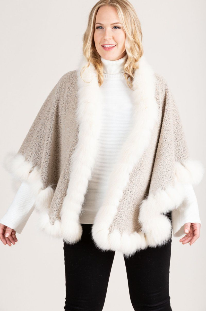 Bella Alpaca Wool Cape with Fox Fur Trim Overland in