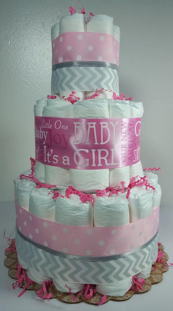 Pink SilverWhite Chevron Girl Baby Shower Centerpiece 3 Tier Diaper Cake