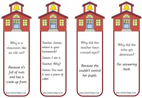 cute printable bookmarks with an illustration of a school house and fun school jokes for the children to giggle at