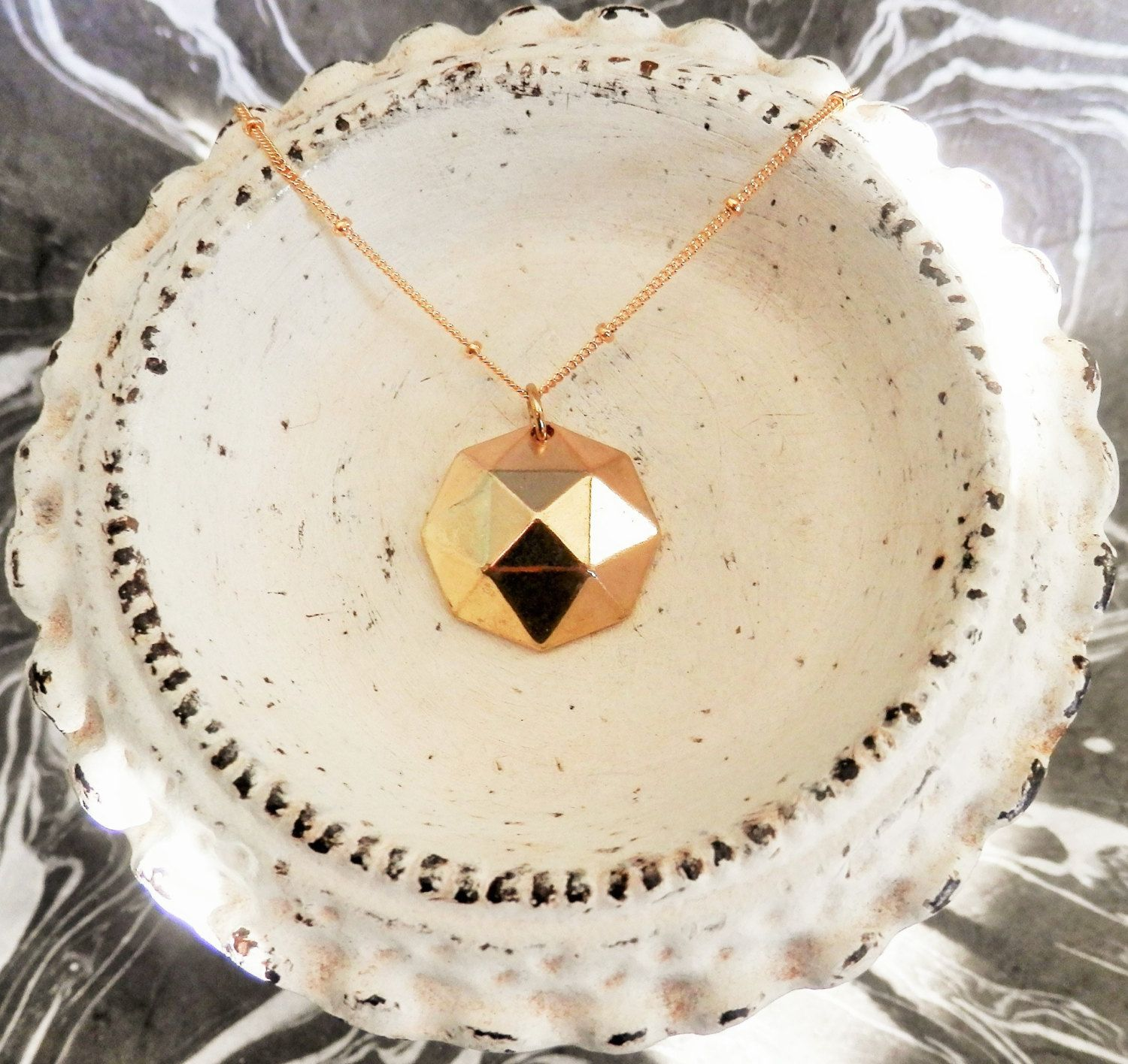 Geometric Orb Necklace // Gold Geometric Necklace // Gold Disco Necklace // Delicate Geometric Necklace by ransomjewelry on Etsy