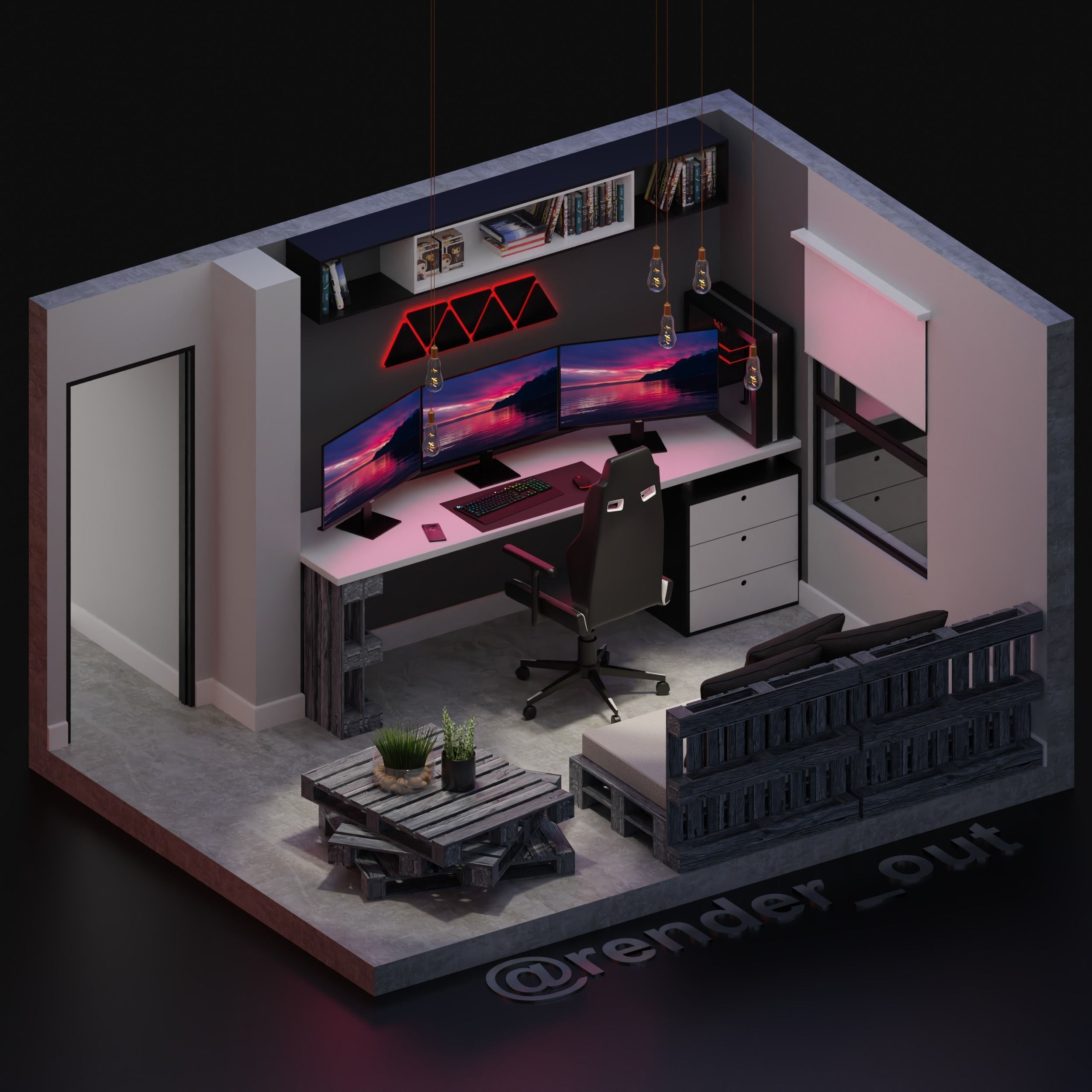 Cool 3D gaming setup 3D model in 2020 Small game