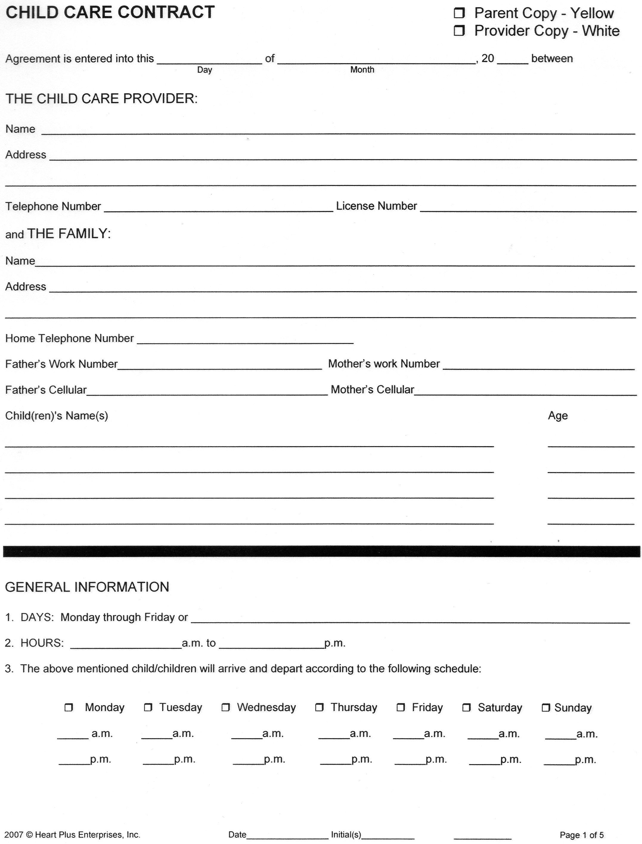 Home Child Care Forms Child Care Contract 1 With Images