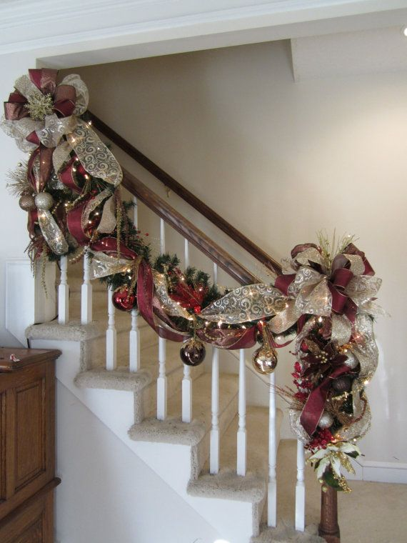 christmas garland swag staircase wreath stair railing deco mesh custom made wall mantel swags handmade holiday decor - How To Decorate A Staircase For Christmas With Deco Mesh
