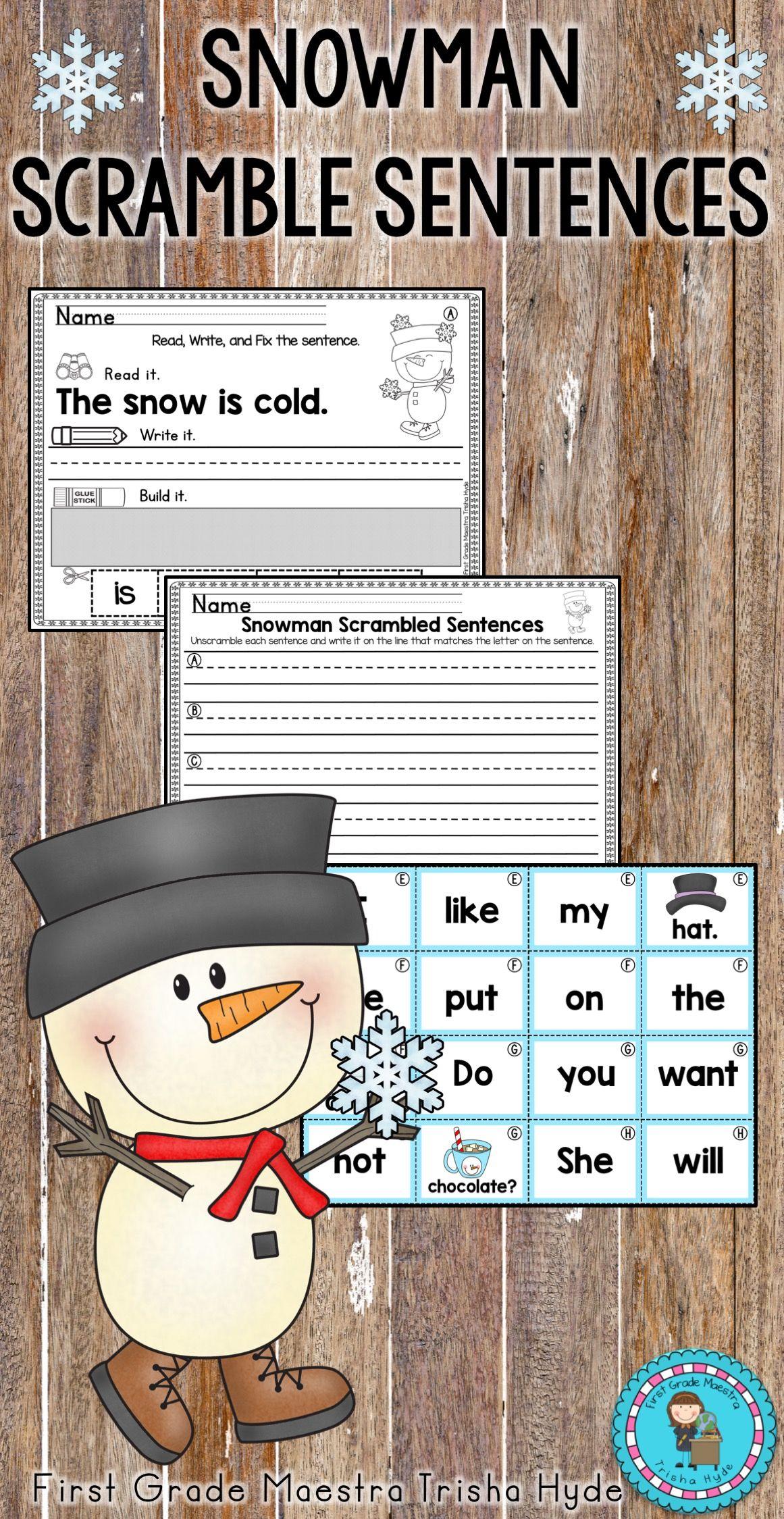 Snowman Sentence Scrambles