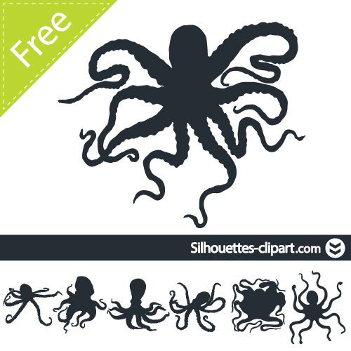 vector octopus vector silhouettes   silhouettes   pinterest