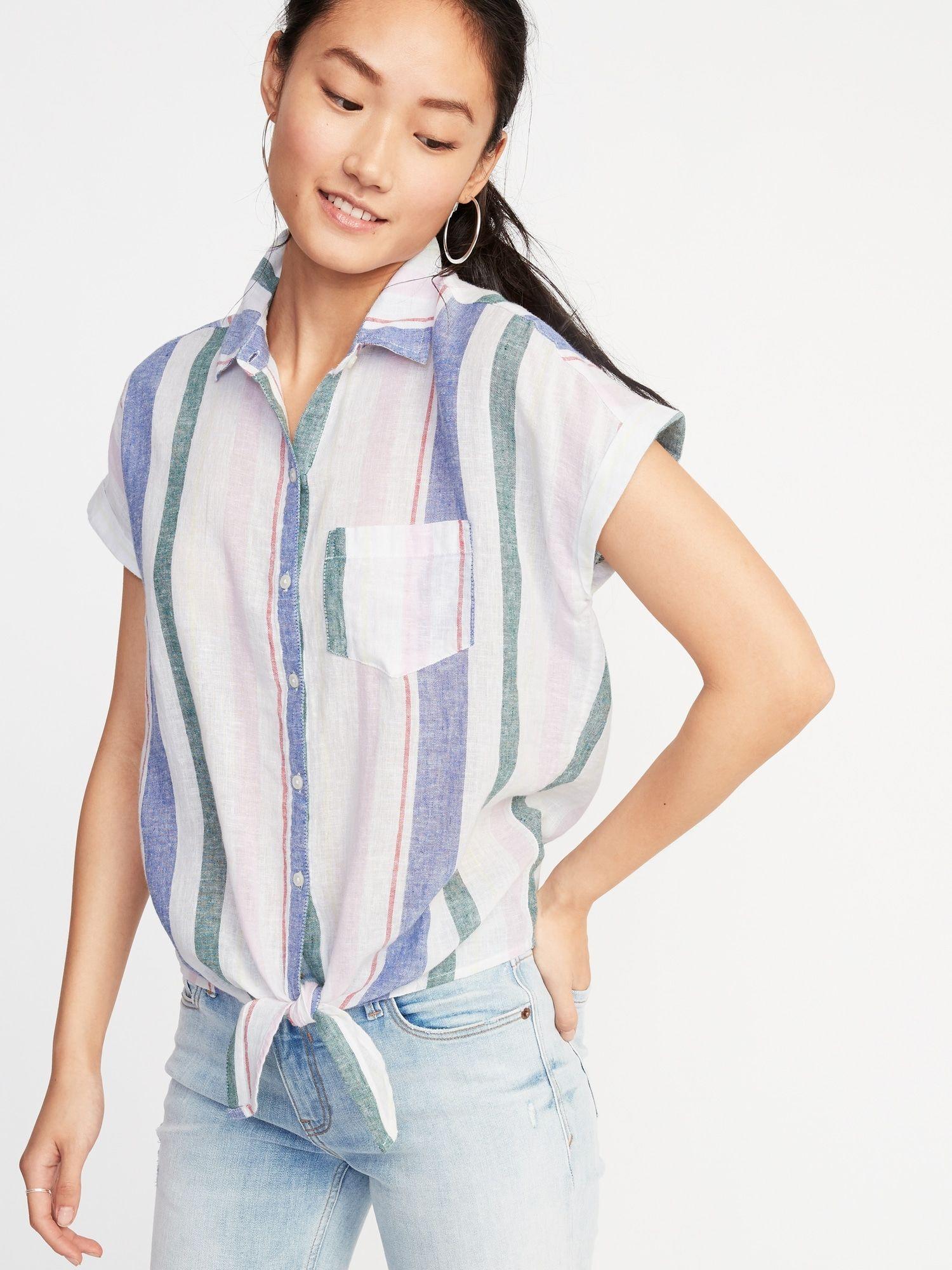 3a9121081 Patterned Tie-Hem Linen-Blend Shirt for Women in 2019   It's SPRING ...