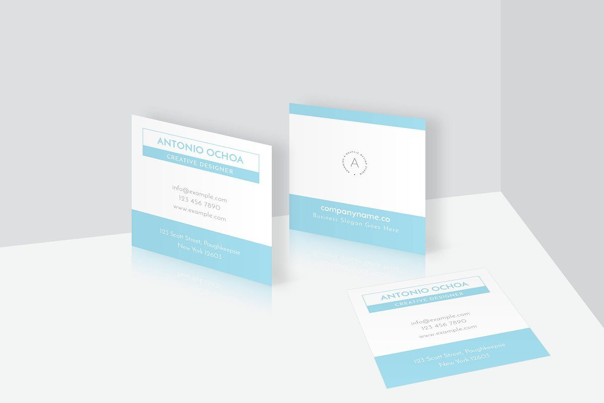 Clean Elegant Square Business Card Free Business Card Templates Square Business Cards Square Business Card