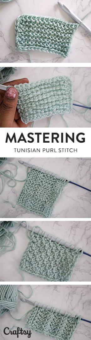 Tunisian Crochet Purl Stitch Tutorial | Crochet muestras | Pinterest ...