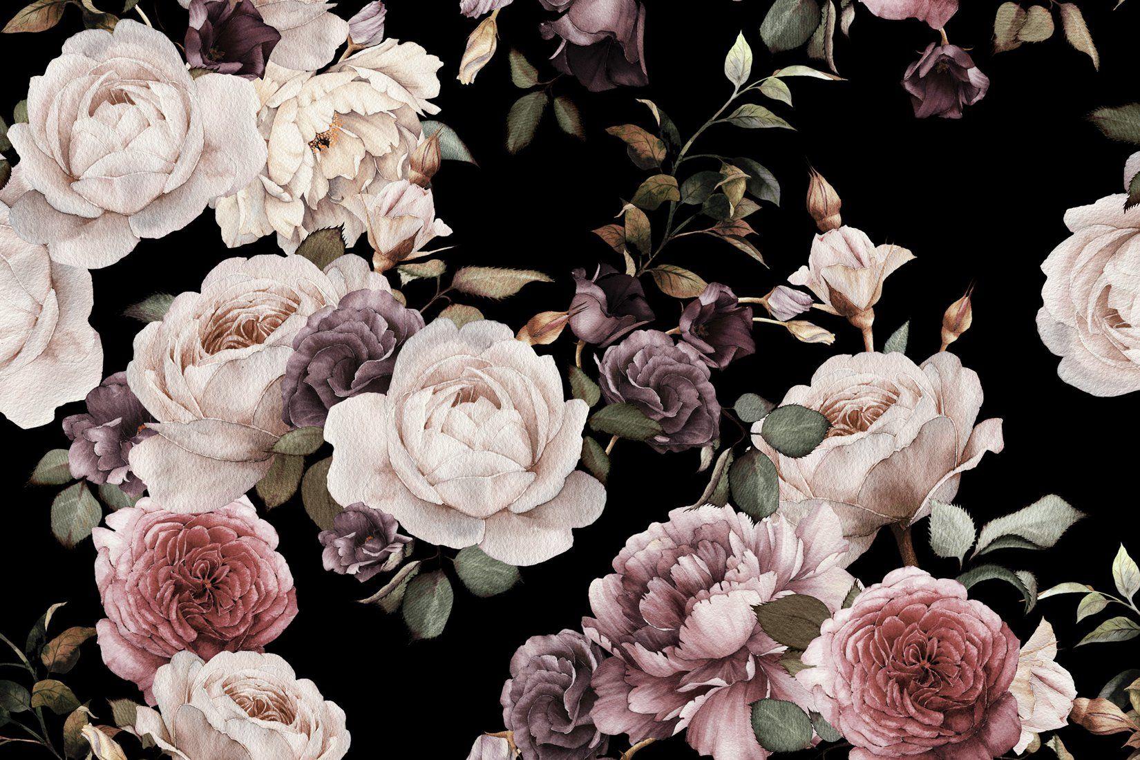lila und rosa dunkle blumen tapete lila blumen anspruchsvoll und gewiss. Black Bedroom Furniture Sets. Home Design Ideas