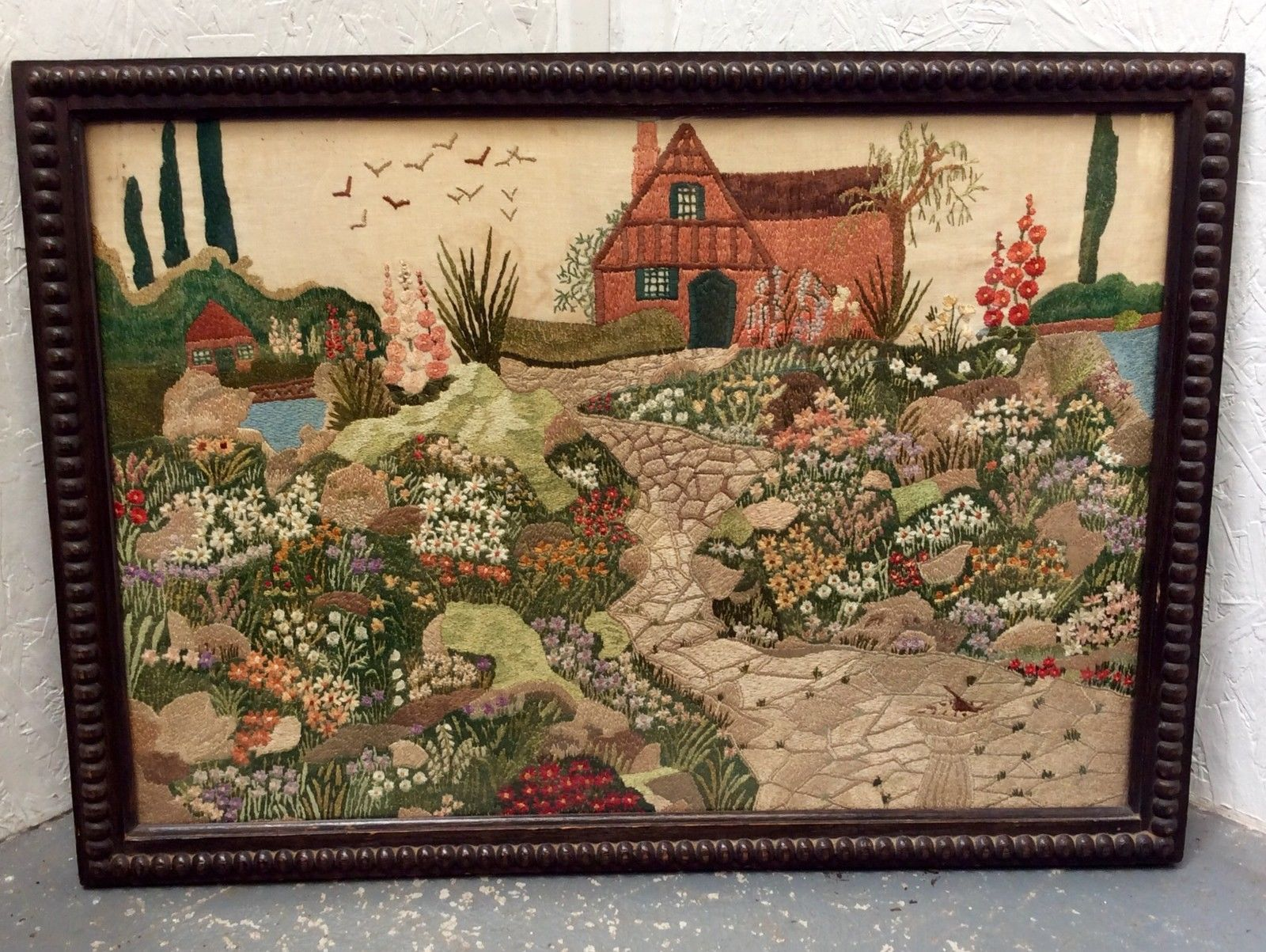 HUGE ANTIQUE OAK FRAMED EMBROIDERY OF AN ENGLISH COUNTRY GARDEN ...