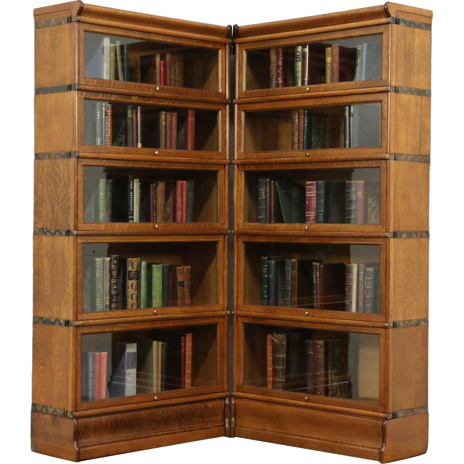 Corner Pair of 5 Stacking Oak Antique Lawyer Bookcases, Signed Macey ...