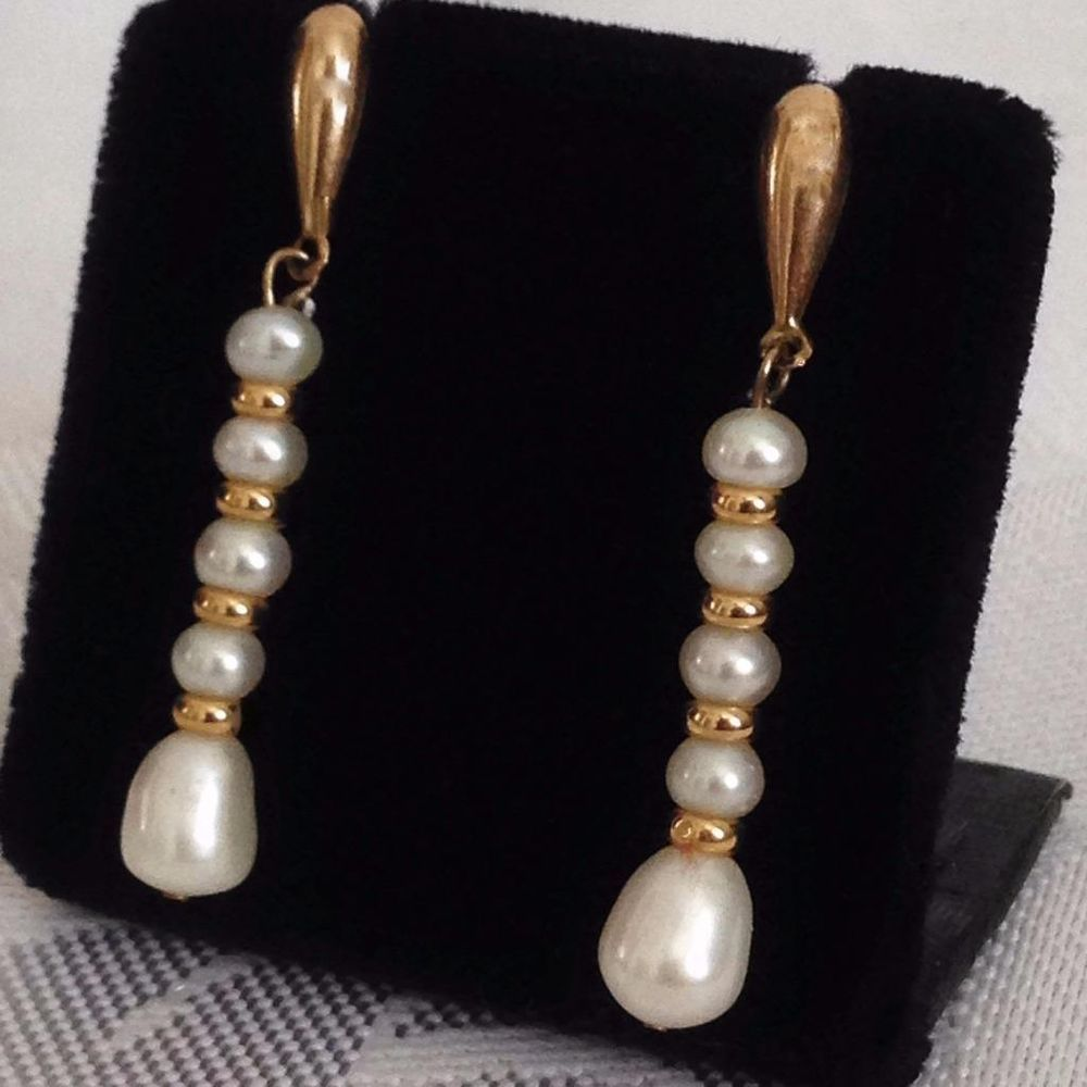 Vintage 9ct 375 Gold Pearl & Alternating Gold Ball Earrings Dangle  Postelegant