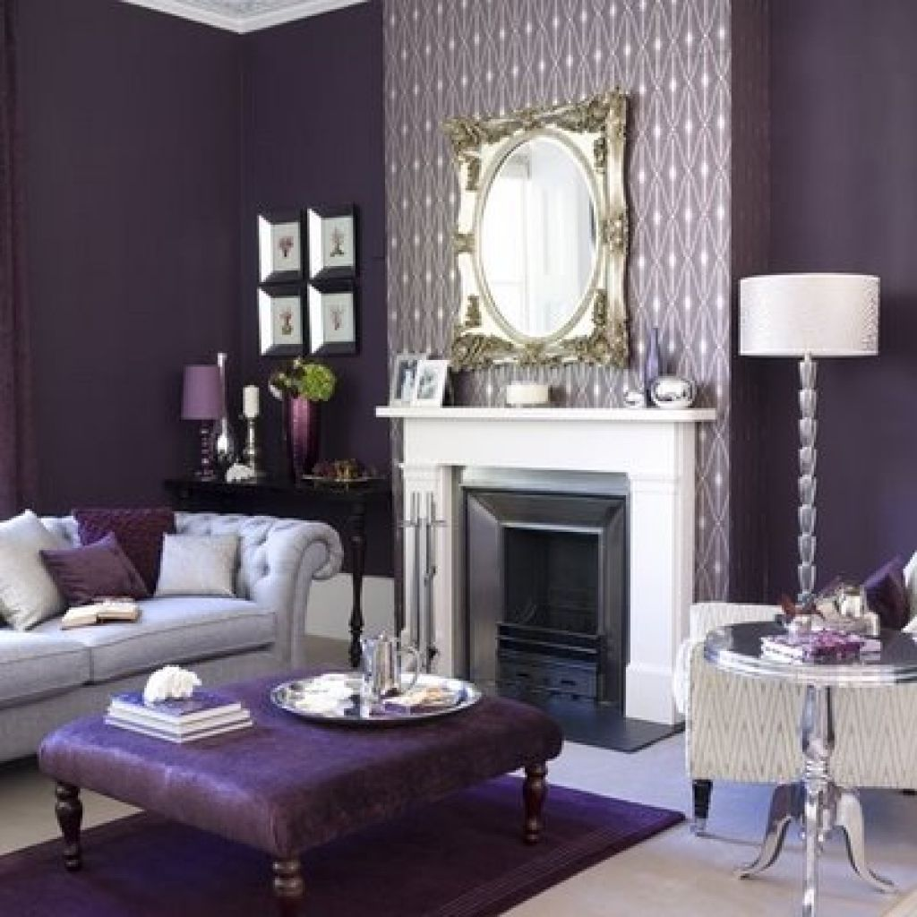 Purple color in the interior and its combinations