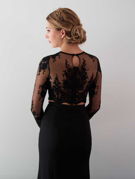How Stunning Is The Black Lace On Our Danna 2 Piece Gown Drew