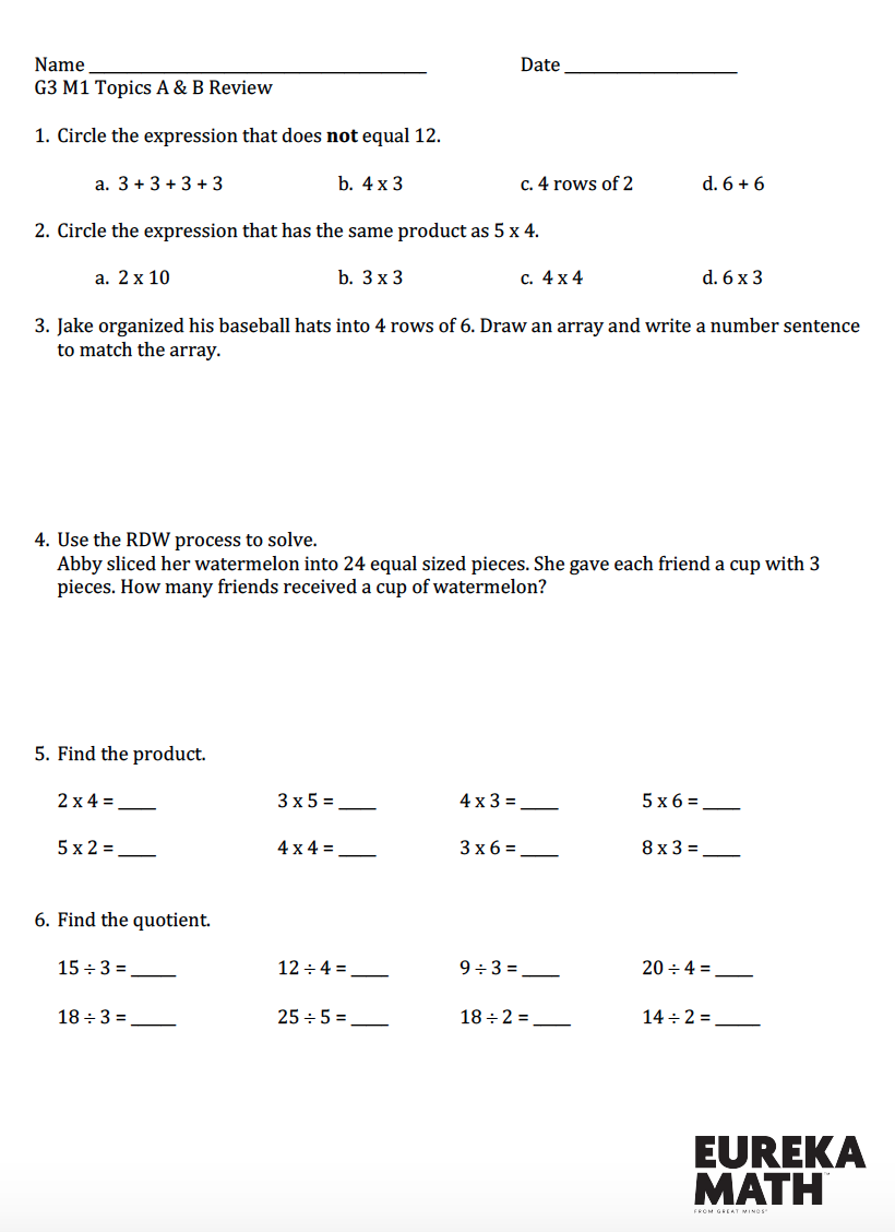 Grade 3/Module 1/Topics A \u0026 B - Review   Eureka math [ 1128 x 820 Pixel ]