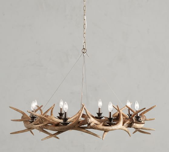 Faux Antler Ring Chandelier In 2019 Cabin