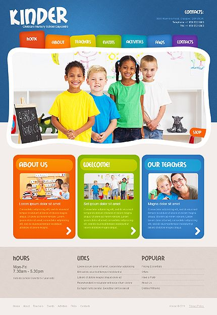 Website Template Template 36177  Kinder Children Website Template  Kids Web