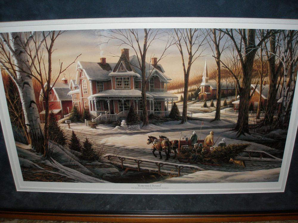 1988 Holiday Print Matte & Framed Terry Redlin Homeward Bound ...