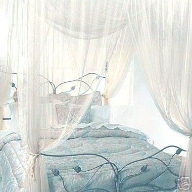 Curtain Beds four corner queen ivory bed canopy at the beach house | beach