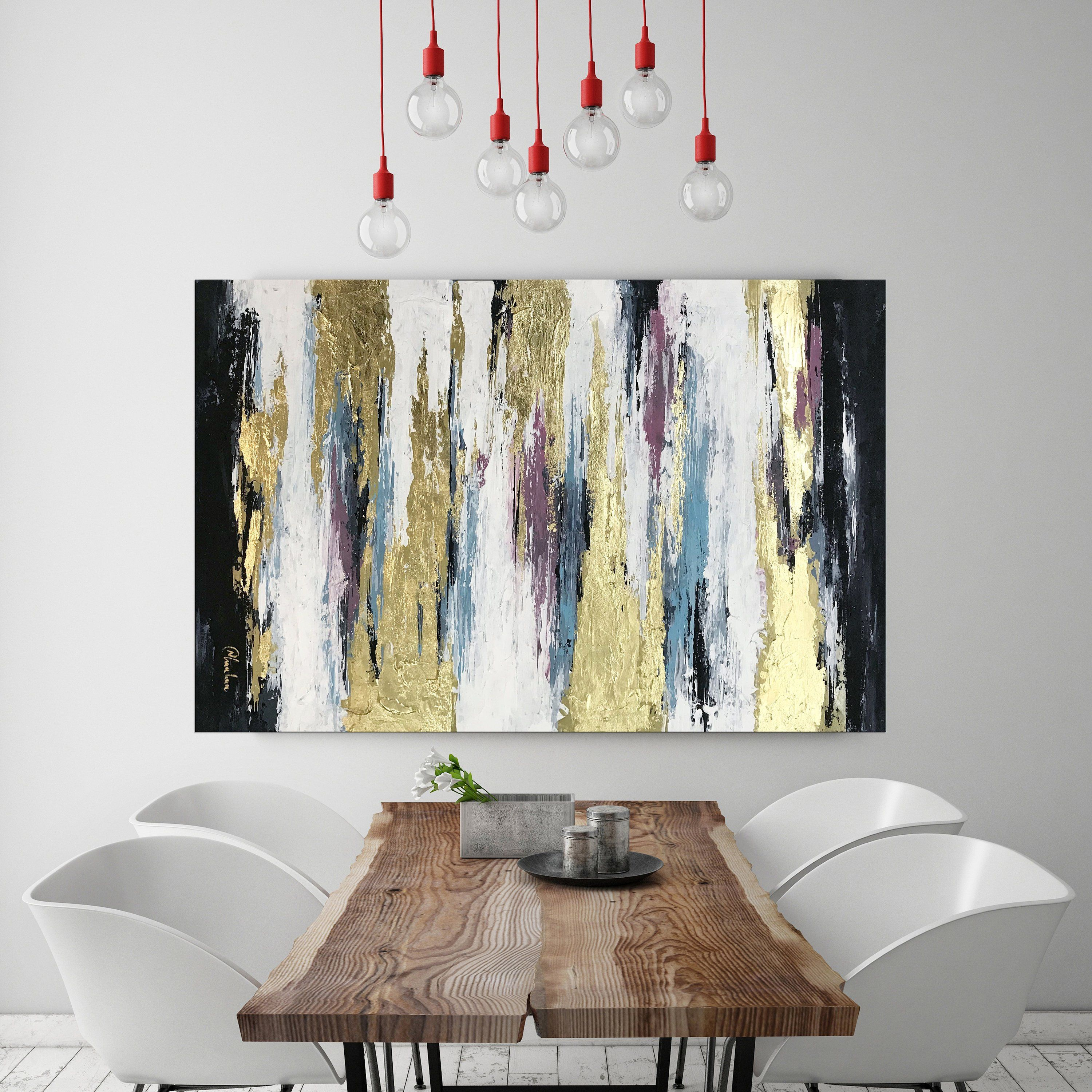 Abstract Gold Leaf Art Gold Painting Modern Abstract Canvas Etsy