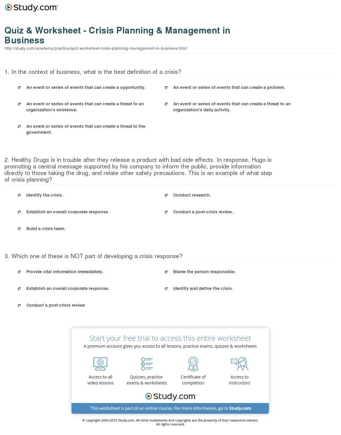 Crisis Prevention Plan Worksheet A Crisis Prevention