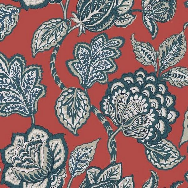 CY1536 Red Mid Summer Jacobean in 2019 Wallpaper roll