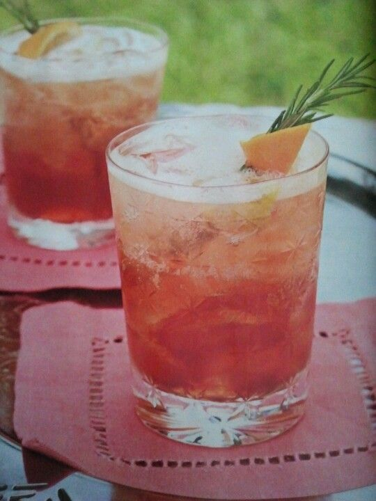 Rosemary Americano..1 tsp Rosemary leaves, 1 tsp. Superfine sugar, 1 1/2 ounces Campari, 1 1/2 ounces sweet Vermouth, ice cubes. Shake, strain into Old Fashion glasses. Top off with club soda, orange slice, and rosemary sprig.