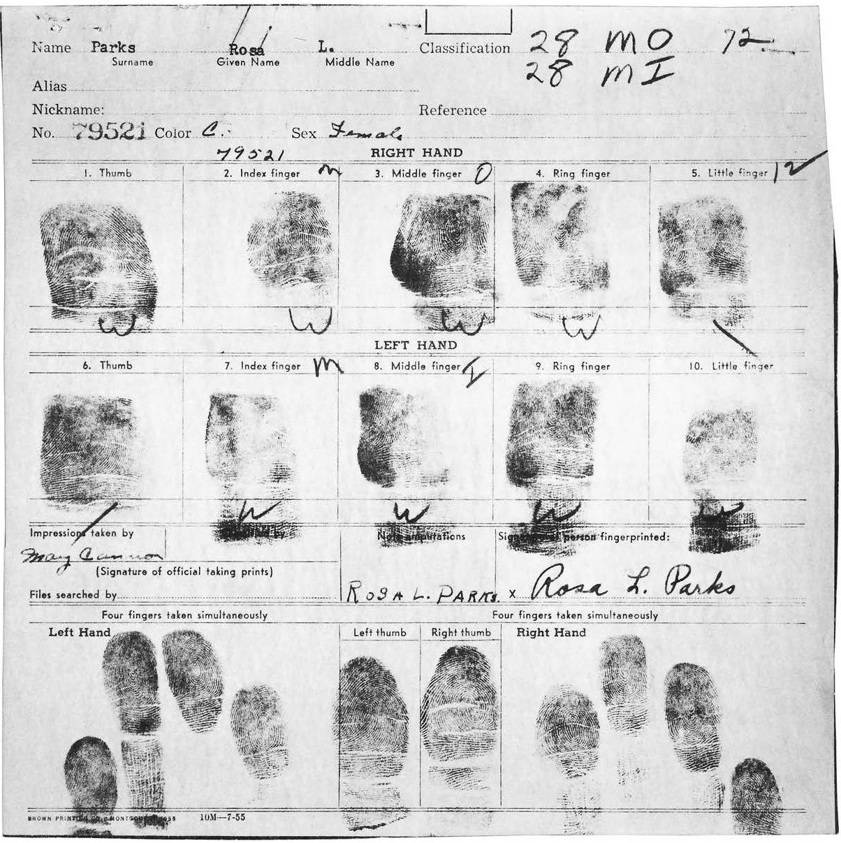 Rosa Parks s Montgomery arrest fingerprint card December 1 1955